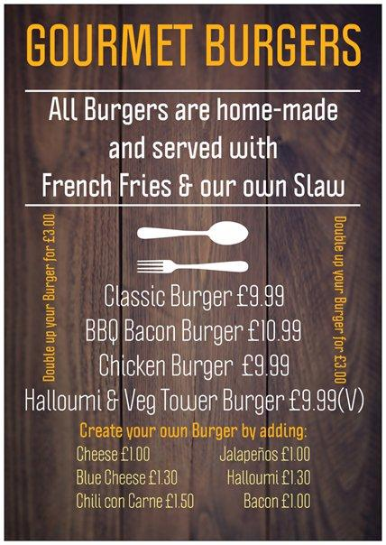 William the Conqueror Burger Menu